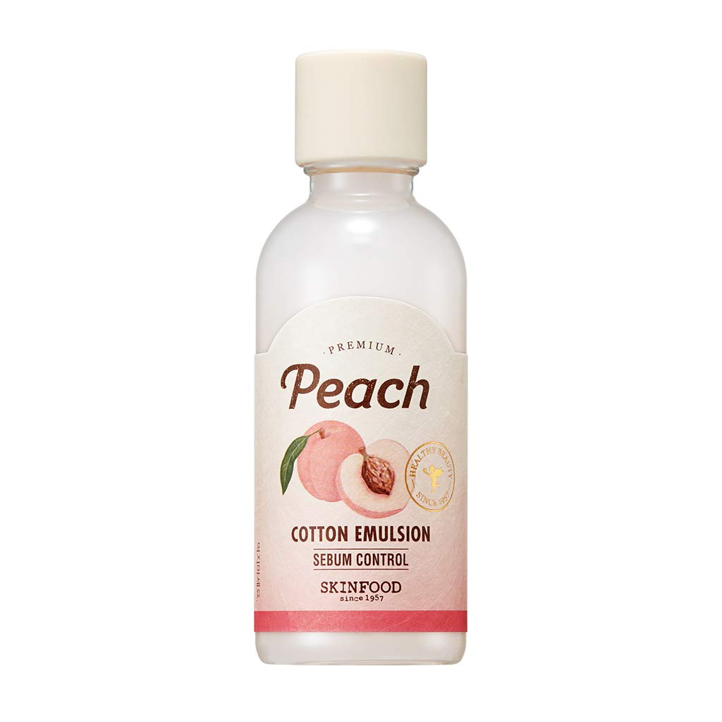 [SKIN FOOD] Premium Peach Cotton Emulsion 160ml - Sebum Control Essence Type Moisturizing Facial Lotion for Oily Skin, Smoothing & Matte Finish without Clogging Pores