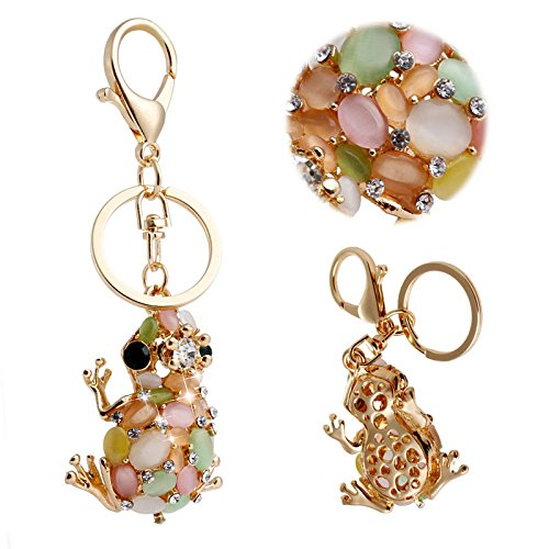 Mimgo Store New Frog Crystal Rhinestone Charm Pendant Key Chain Ring Purse Bag Car Keyfob Gift (Frog Keychain Metal)