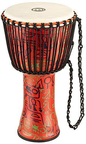 Meinl Percussion Travel Djembe with Synthetic Shell-NOT Made in CHINA-12 Large Size, Rope Tuned Goat Skin Head, Pharaoh's Script, 2-Year Warranty, 12