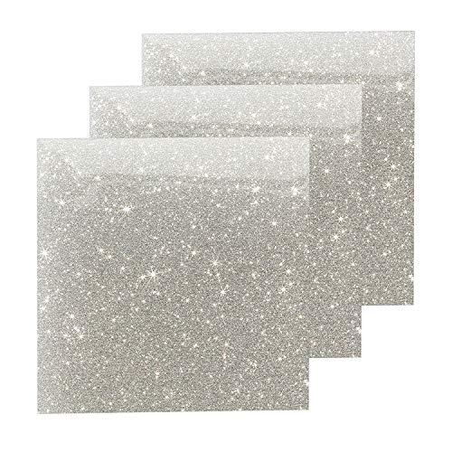 Glitter Heat Transfer Vinyl Silver Sheets, HTV Vinyl Bundle Iron on for T Shirts, Fabric, Clothing - 10