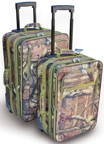 Explorer Mossy Oak with Green Trim -Realtree Like- Hunting Camo Heavy Duty Luggage with Pulling Handles 2 Wheels 20 Inch 24 Inch 2 Pcs Set with Side Handlers