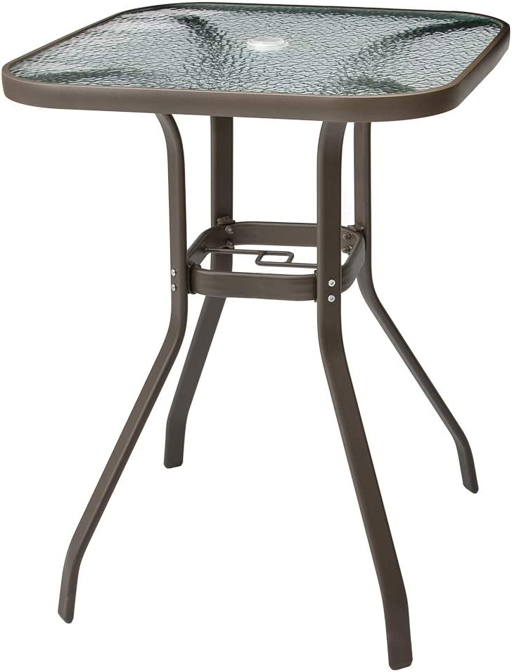 Crestlive Products Patio Bar Table Outdoor High Dining Bistro Table Tempered Glass Top with Umbrella Hole, Aluminum Frame Outside Banquet Furniture for Garden Pool Deck Lawn (Brown)