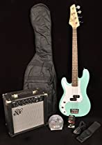 SX Ursa 1 JR RN PK PBU Powder Blue Left Handed 3/4 Size Bass Guitar Package w/Free Amp Bag, Strap and On Line Instructional Video