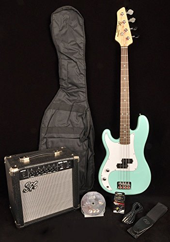 - SX Ursa 1 JR RN PK PBU Powder Blue Left Handed 3/4 Size Bass Guitar Package w/Free Amp Bag, Strap and On Line Instructional Video
