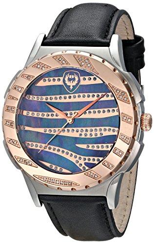 Black Jeweled Ladys Watch - Brillier Unisex 12-04 Analog Display Swiss Quartz Black Watch