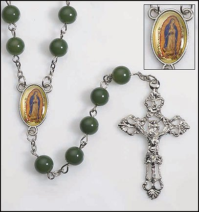 Our Lady Of Guadalupe Rosary (Mens Womens Religious Catholic Gift Our Lady of Guadalupe Icon Center 8mm Green Bead 23 Inch Rosary Necklace)