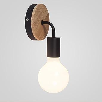 E27 Retro Apliques de metal de Madera Blanco LED Lámpara de ...