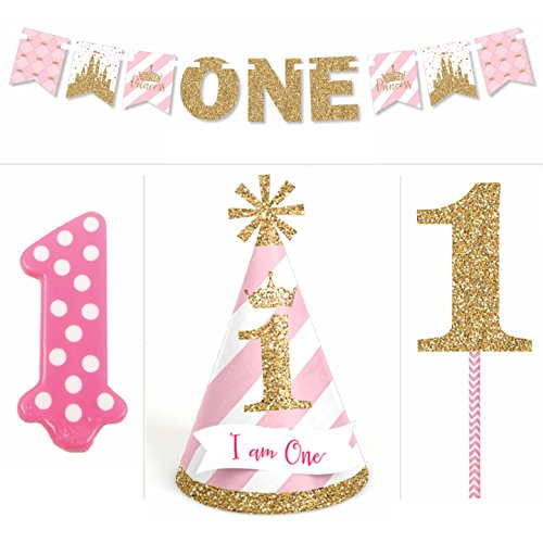 Little Princess Crown 1st Birthday Girl Smash Cake Kit High Chair Decorations
