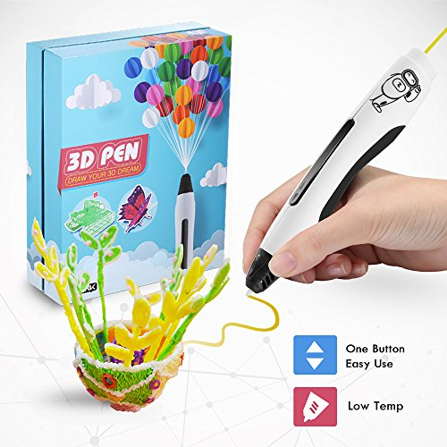 3D Printing Pen, Low Temperature Safe for Kids & Adults, Simple 1 Button Operation Easy Operated, Won't Clog, Holidy Extra Bonus DIY Gift ()
