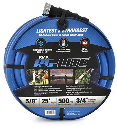BluBird AG-Lite Rubber Hot & Cold Water Rubber Garden Hose: Ultra-Light & Super Strong  (5/8″ x 25′)  – BSAL5825