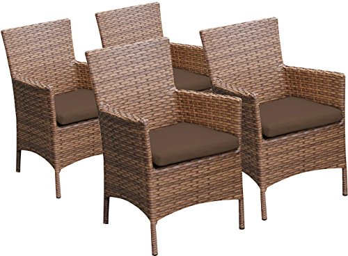 TK Classics 4 Piece Laguna Dining Chairs with Arms, Cocoa ()