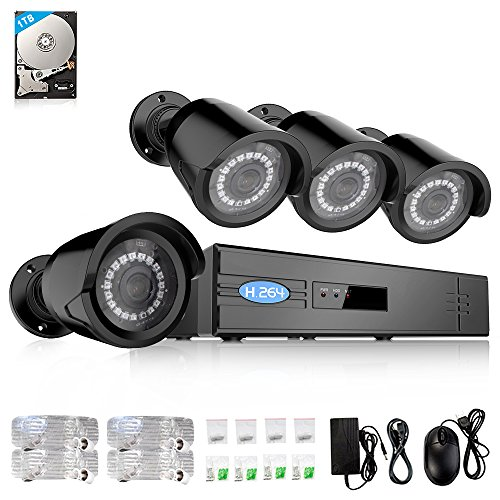 ELECCTV 1080P 4 Channel PoE Video Security Surveillance System NVR Kit 4 x Weatherproof 960P IP Cameras 1TB Hard Drive