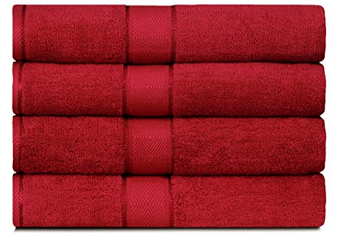 DIVINE Elysian - Premium - 100% Natural Ring-spun finest quality double ply cotton yarn, Soft, Extra Absorbent & Durable,  Quick-dry, 4 Piece Bath Towel Set - Red ()