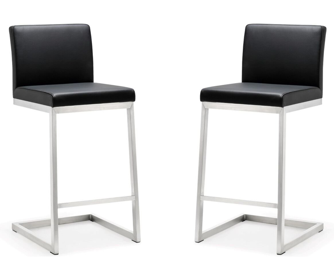 Grey Tov Furniture Parma Stainless Steel Counter Stool Set of 2
