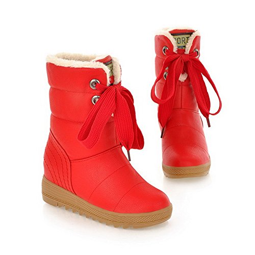 B with Closed Banage Solid Round Red M Womens Soft Platform AmoonyFashion 5 PU Material Toe US PU 5 Boots and wFTR5qv