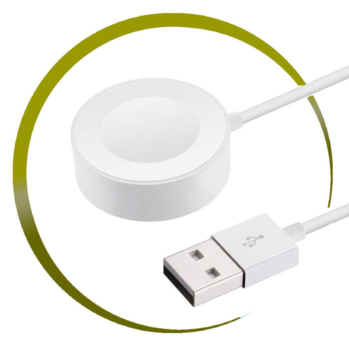 Joselinen Compatible with Apple Watch Magnetic Wireless Charger Pad Charging Cable Cord Compatible with Apple Watch iwatch 38 mm/42 mm Series 1/2/3/4, 3.3Ft White
