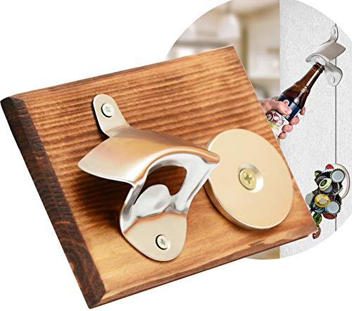 Wall Mounted Bottle Opener with Magnetic Cap Catcher - Beer Opener for Men & Women - Funny Birthday Present Idea and Unique Housewarming Gift (Wall Mounted Bottle Opener With Magnetic Cap Catcher)