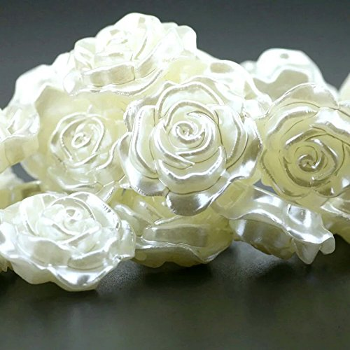 Acrylic Mother of Pearl Large Antique White Rose Flower Beads (5pc) 31mm- Cream Off (Mother Of Pearl Flower Beads)