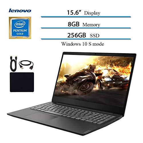 2019 Newest Lenovo 15.6' Laptop Computer, Intel Pentium Gold 5405U, 2.3GHz, 8GB DDR4 RAM, 256GB SSD, WiFi, Bluetooth, USB 3.1, HDMI, Windows 10 w/ Hesvap Accessories