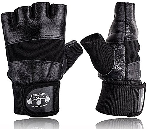 OlimpiaFit Gym Workout Gloves Men Black Best For Crossfit, Exercise, Fitness, Weight Lifting, Sports, Training - Men, Women, Girl - Heavy Duty Leather