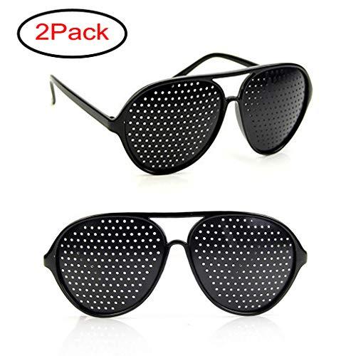 Lergo Vision Correction Glasses, Vision Improvement Glasses, 2 Pcs Classic Oversized Oval Glasses Small Holes, Black Eyesight Protection Eyewear, Prevention Near Eyesight Astigmatism Amblyopia