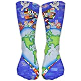 Crazy Design World Peace Earth Crew Socks Halloween Tube Socks For Girls