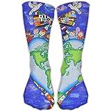 Crazy Design World Peace Earth Crew Socks Halloween Tube Socks For Girls