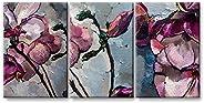 JOSS DESIGN Cuadros Decorativos Set de 3 Piezas, Diseño Magnolias Purpura, Impresión Tela Canvas 40 x 60 cm
