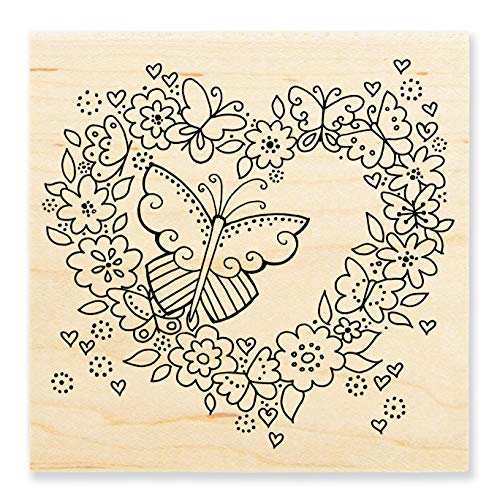 Stampendous LBW014 Butterfly Heart Wood Rubber Stamp
