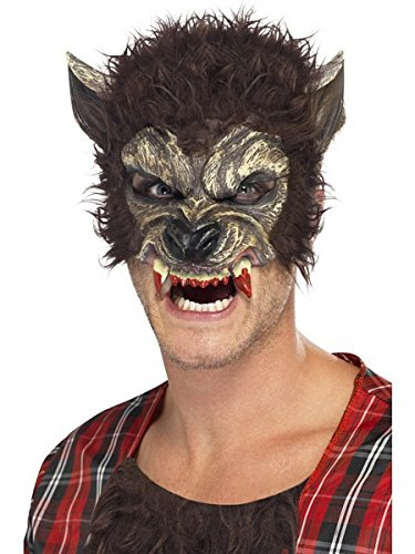 Smiffy's Men's Werewolf Mask, Brown, One Size, 22711 (Wolf Masks For Adults)