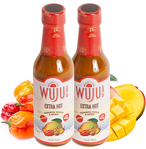 WUJU Extra Hot Sauce - Agave Based Hot Pepper Sauce - All-Natural Habanero Hot Sauce With Diverse Ingredients - Gourmet Hot Sauce - Hot Hot Sauce, Low Sodium, No Preservatives - 2 x 5 Ounces (Sauce Agave Bbq)
