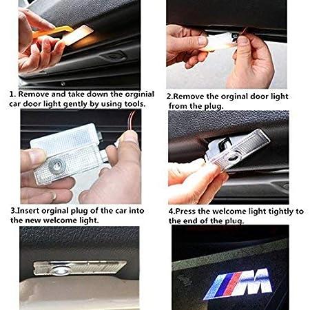 HConce Projecteur De Porte De Voiture Logo Ghost Ombre Lumi/ère LED Auto Porte Courtesy /Étape Projecteur Lumi/ères pour A1 A3 A4 A6 A8 A6L A4L R8 TT Q7 Q5 4-Pack