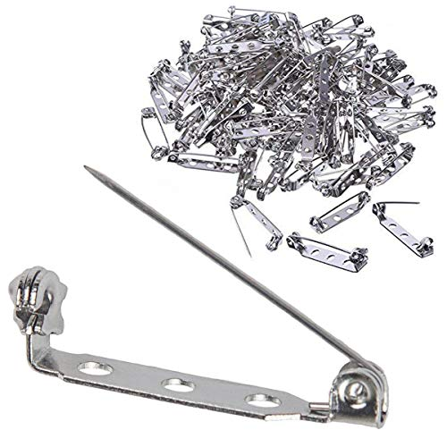 100 Pcs Silver Tone Pin Backs Clasp Brooch Safety Pins 1 Inch Bar Pins Findings with 3 Holes For Badge Insignia, Citation Bars, Making Corsage, Name Tags, Toy Pins And Jewelry Making By STARVAST