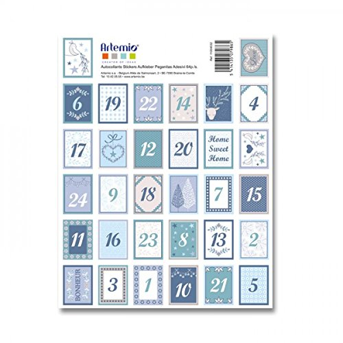 Artemio 64 Stickers blue numbers for Advent Calendar