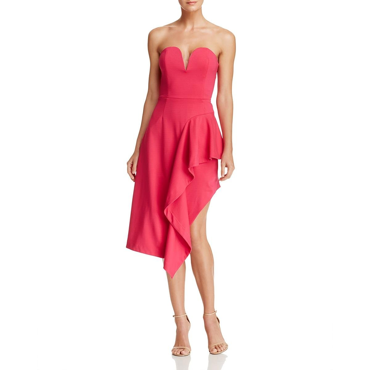 Fushia Elliatt Womens Impact Strapless Ruffled Cocktail Dress