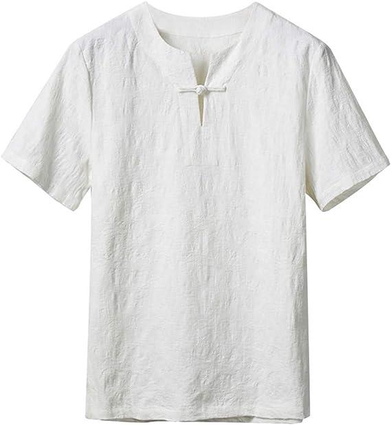 HucodeVan Camisas Manga Corta Hombre Casual Estilo étnico Transpirable Algodón Lino Clásico Remera Vacaciones Playa Camisetas Color sólido Tops Ropa: Amazon.es: Ropa y accesorios