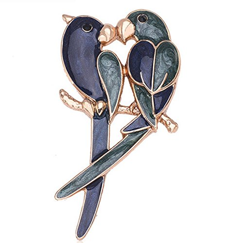 Women and Girl Vintage Dual Parrot Brooche Alloy Brooch Pins Garment Accessories ()