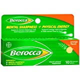 Berocca Mental Sharpness and Physical Energy Dietary Supplement Tablets 10 ea, Orange (Pack of 2)