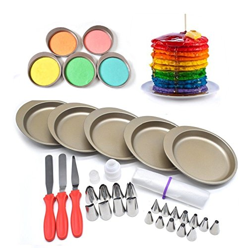 AK ART KITCHENWARE 7.4 Inches DIY Rainbow Muffin Baking Pan Cake Pan Set for Piping Flower Tips Oven Baking Mold Cake Sraper Icing Piping Nozzles (Round Colorful Tin Flowers)