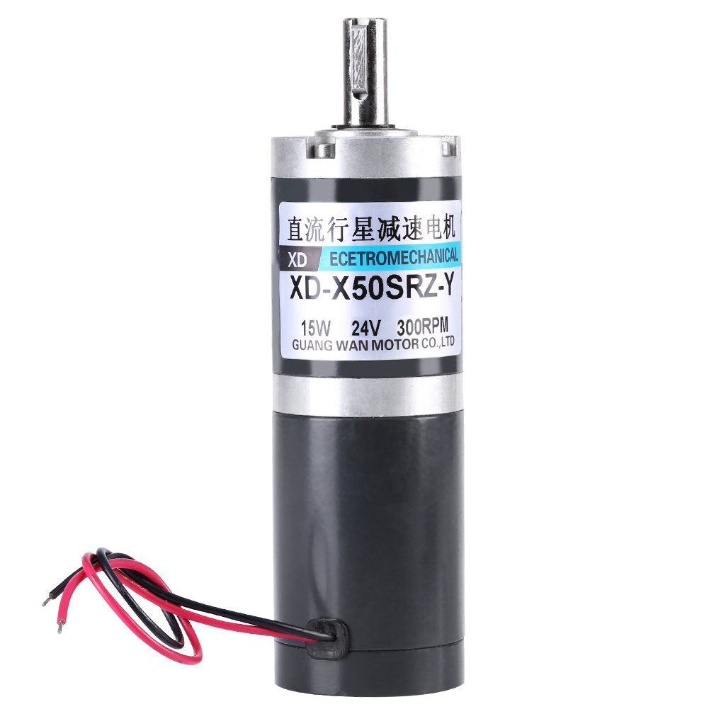 DC Gear Motor, High Torque DC Planetary Geared Planet Gear Motor 12V/24V 50mm Diameter(300rpm-24V)