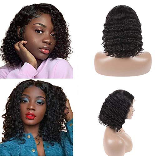 Short Curly Lace Front Wigs Bob Human Hair Wigs Middle Part Deep Wave Unprocessed Brazilian Virgin Human Hair Lace Front Wig With Baby Hair For Black Women 150% Density 13x4 Lace Base 1b(12inch) -