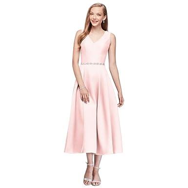 847c2b38a76d David's Bridal V-Neck Mikado Tea-Length Bridesmaid Dress Style OC290027,  Petal,
