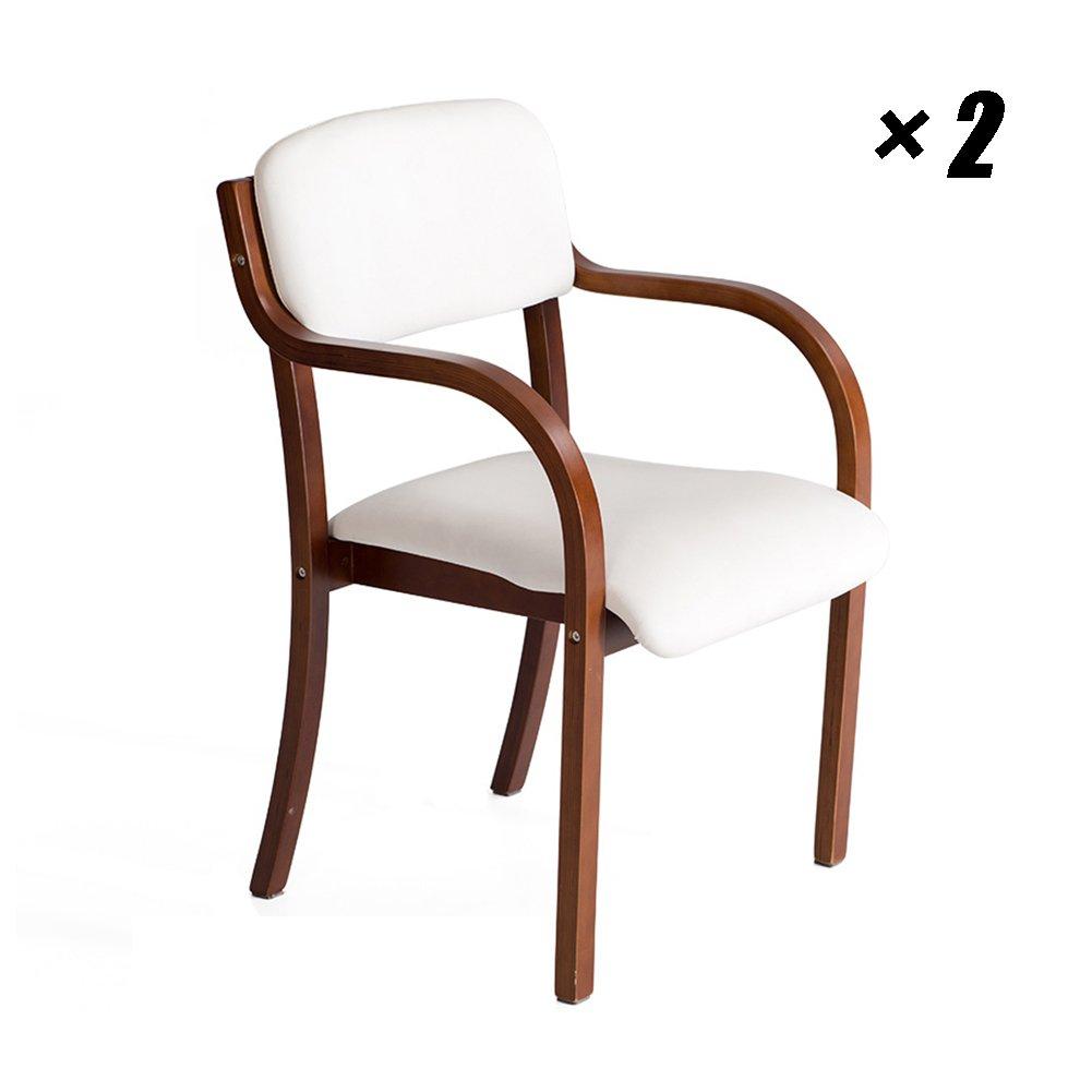 LXLAヨーロッパスタイルのダイニングチェアラウンジ、会議、オフィス、研究のためのアームレスト付きソリッドウッドキッチンシート53×58×83cm (色 : 白, サイズ さいず : Set of 2) B07F1S67M8 Set of 2|白 白 Set of 2