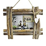 GZQ Picture Frame Wood Shabby Chic Rustic Photo Frame for Wedding Certificate Family Baby Landscape Pictures Decoration Christmas Gift (8 Inch)