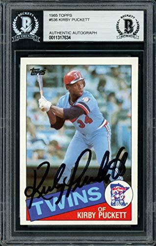 Kirby Puckett Autographed 1985 Topps Rookie Card #536 Minnesota Twins Vintage Beckett BAS #11317634 ()