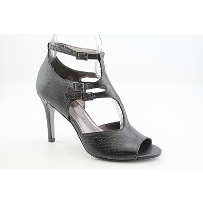 48091059be00 Tahari Warner Womens Size 8 Black Open Toe Leather Dress Sandals Shoes