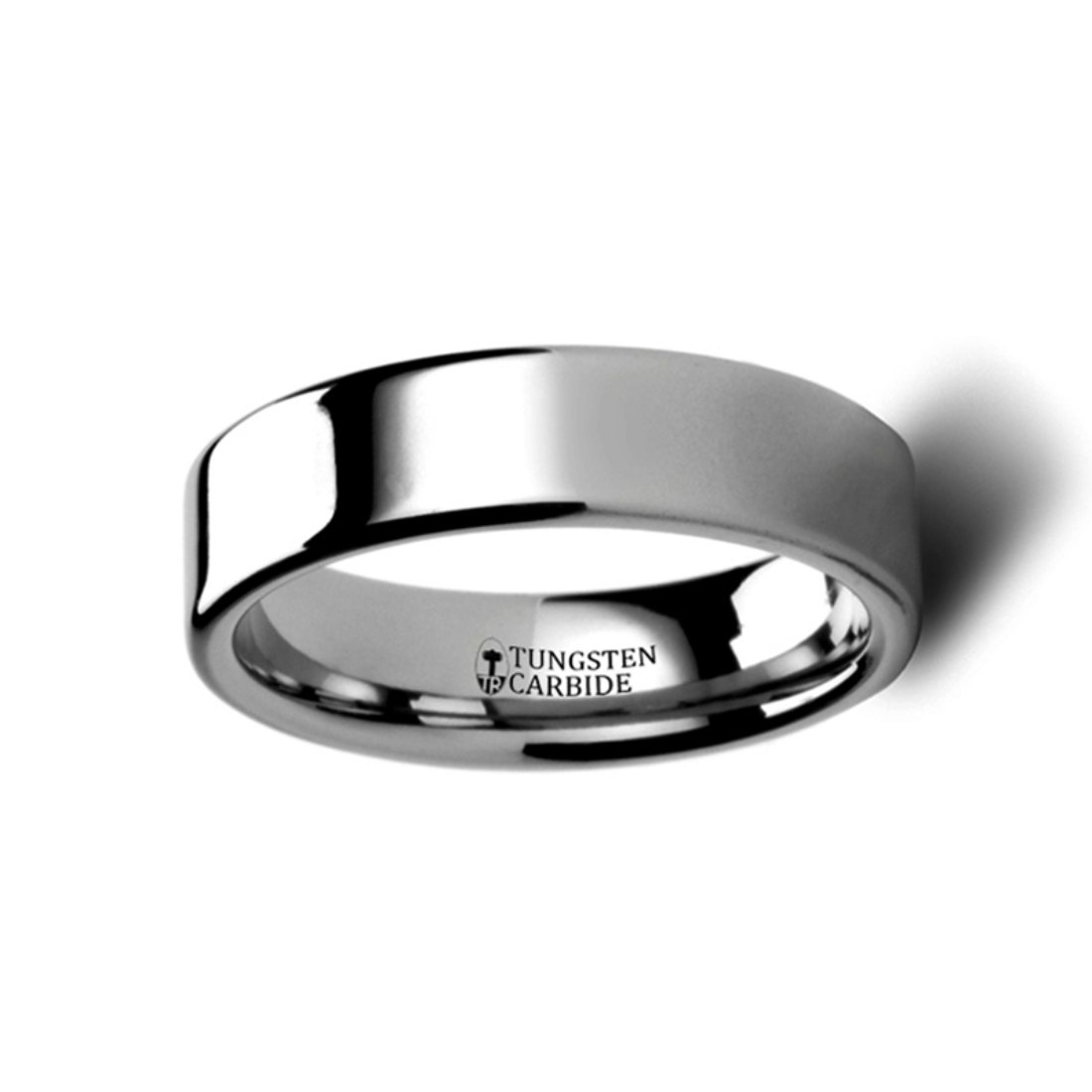 Thorsten Spartan Pipe Cut Flat Tungsten Carbide Ring 6mm Wide Wedding Band with Custom Inside Engraved Personalized from Roy Rose Jewelry