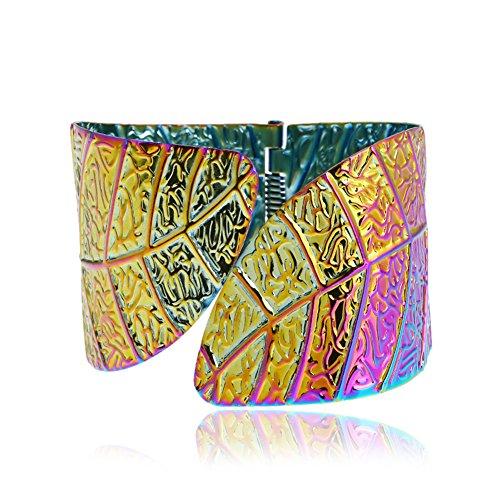 Thkmeet Leaf Shaped Wide Arm Cuff Bangle Bracelet for Women (Multi) Arm Multi Leaf