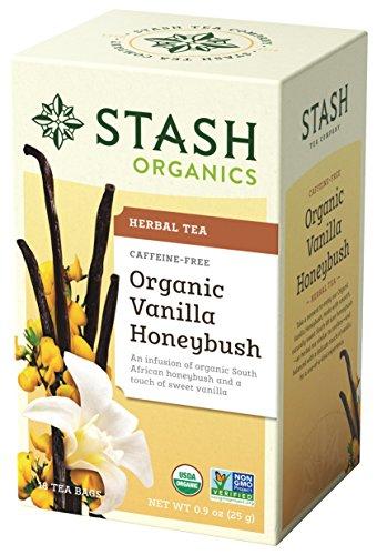 Stash Tea Organic Vanilla Honeybush Herbal Tea 18 Count Tea Bags in Foil (Pack of 6) Individual Herbal Tea Bags for Use in Teapots Mugs or Cups, Brew Hot Tea or Iced Tea