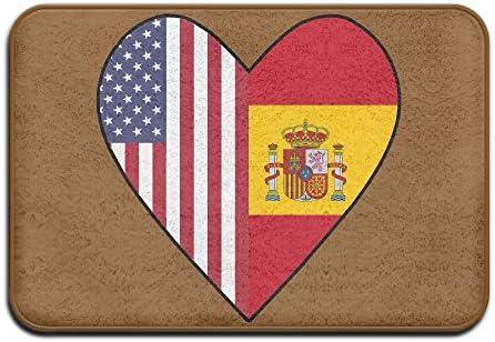 Youbah-01 - Felpudo para Interiores y Exteriores con Diseño de la Mitad de la Bandera de España, Diseño de Corazón con la Bandera de EE. UU.: Amazon.es: Hogar